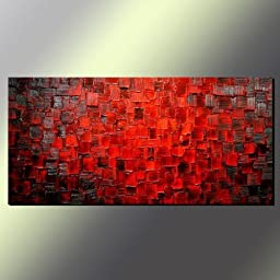 Seekland Art Modern Texture Oil Painting Handmade Canvas Red Abstract Wall Art Wall Decoration Artwork No Frame 56\