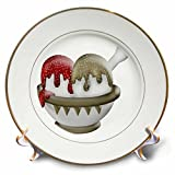 Anne Marie Baugh - Illustrations - Cute Bowl Of Ice Cream In Beige, White, and Red With Sprinkles Illustration - 8 inch Porcelain Plate (cp_222642_1)