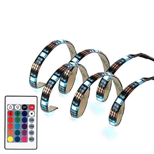 SUPERNIGHT 5050 RGB USB LED Light Strip Kit Flexible Adhesive Back Tape + 24 Remote Control for HDTV TV Monitor Decoration Multi-color Changing USB Powered LED Accent Light (2x50CM,Waterproof) (Usb Blue Light Strip compare prices)