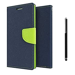 Relax And Shop Royal Diary Flip Cover For Samsung Galaxy On 5 - (Navy Blue Diary Flip+Stylus)