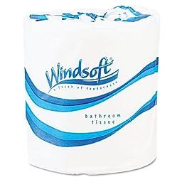 Windsoft 2200 Single Roll Bathroom Tissue, White (Case of 96)