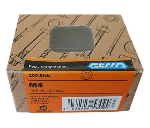 Unterlegscheiben / Karosseriescheiben verzinkt M4 DIN 433, 100 Stk.