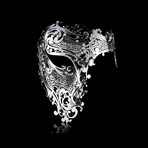 Goodkssop Luxury Mask Women Men's Signature Phantom of the Opera Half Face Skull Cool Mask Metal (Silver)