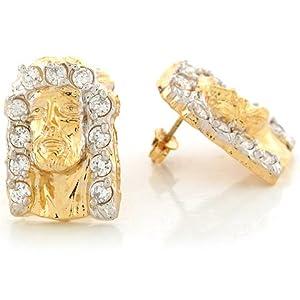 14k Two Tone Real Gold CZ 2.01cm x 1.42cm Jesus Christ Head Religious Post Earrings