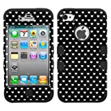 MYBAT Black Vintage Heart Dots/Black TUFF Hybrid Phone Protector Cover for APPLE iPhone 4S/4 (LIE8)