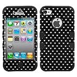 MYBAT Black Vintage Heart Dots/Black TUFF Hybrid Phone Protector Cover for APPLE iPhone 4S/4 (LIE8)