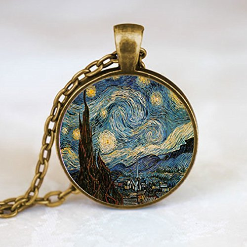Starry Night pendant, Van Gogh necklace, Van Gogh art jewelry, moon and stars necklace, Starry Night necklace Bronze (PD0148)