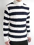(オークランド) Oakland ケーブル編み タートルネック ニット セーター ハイネック 起毛 防寒 オーセンティック カジュアル モード メンズ オフホワイト×ネイビー Lサイズ