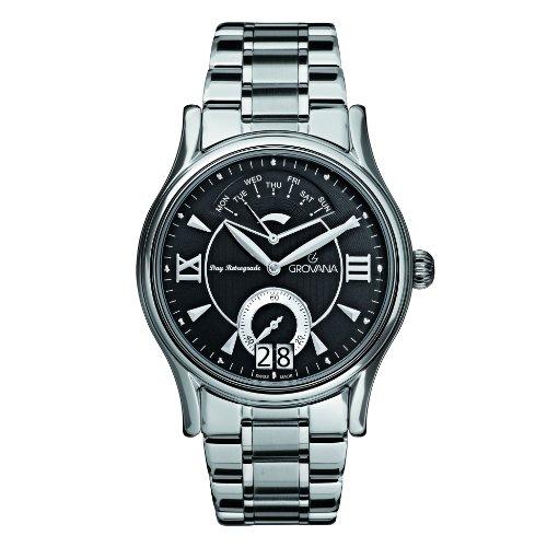 Grovana 1715,1137 - Reloj analógico de cuarzo para hombre, correa de acero inoxidable color plateado