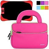 Evecase UltraPortable Handle Carrying Neoprene Sleeve Case Bag Compatible with Fuhu Nabi Jr. / nabi Jr. S - Kids Tablet / nabi Jr. nick Jr. Edition Tablet 5 inch Android Kids Tablet - Hot Pink
