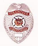 HWC VOLUNTEER FIREFIGTHER Nickel Badge Shield with Full Color Seal