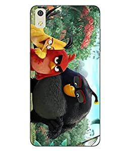 Snazzy Angry Bird Printed Colorful Hard Back Cover For LYF WATER 8