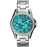 Fossil Women's ES3766 Riley Crystal-Accented Stainless Steel Watch with Link Bracelet