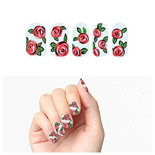 Cute Artsy Rose Line Art Floral Nail Wrap Designs - Nail Decal Strips w/ 22 Nail Wraps & File by Tattify
