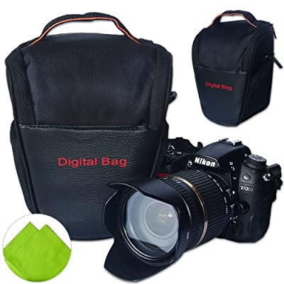 First2savvv Black Digital SLR Camera Bag Holster Case for FUJIFILM FinePix HS20EXR FinePix S4000 FinePix S4080 FinePix S3400 FinePix S3300 with LENS Cleaning Cloth