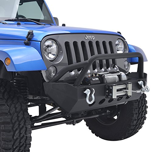 E-Autogrilles 07-16 Jeep Wrangler JK Black Textured Rock Crawler Front Bumper with Winch Plate (51-0327) (Bumper Jeep Jk compare prices)