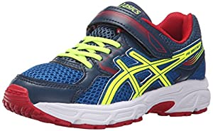 ASICS Pre Contend 3 PS Running Shoe (Little Kid/Little Kid), Royal/Flash Yellow/Red, 13 M US Little Kid