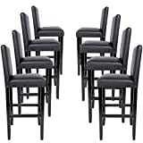 Miadomodo� Bar Stools made of Wood and Faux Leather 8pc Set(Black)by Miadomodo�