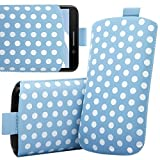 ITALKonline HTC Desire HD Blue White Polka Dots High Quality PU Leather Slim Slip Pouch Protective Sleeve Case Cover with Pull Tab