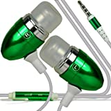 ONX3 Nokia Lumia 810 Premium Quality in Ear Buds Stereo Hands Free Headphones Headset with Built in Microphone Mic & On-Off Button ( Green )