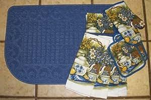 Blue Slice Kitchen Rug with matching Dish Towel Set
