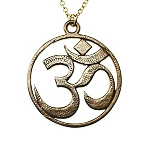 Om Peace Bronze Pendant Necklace on Rolo Chain