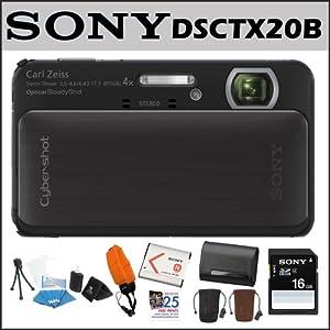 Sony DSCTX20/B Cybershot 16MP 4X Digital Camera Black + Sony Class 4 16GB SDHC Card + 2 Sony Digital Camera Case + Accessory Kit