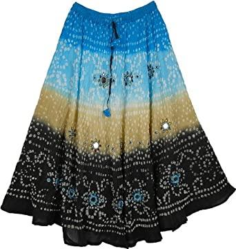 "TLB Celestial Sparkle Tie Dye Long Skirt - Black Blue -Length:33""; Waist 24""-36"""