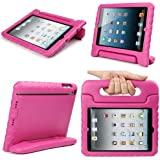 Evecase iKiz Multi Function Child/Shock Proof Kids Cover Case with Stand/Handle for Apple iPad Mini Tablet - Hot Pink