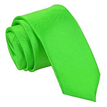 New DQT Plain Apple Green Skinny Tie