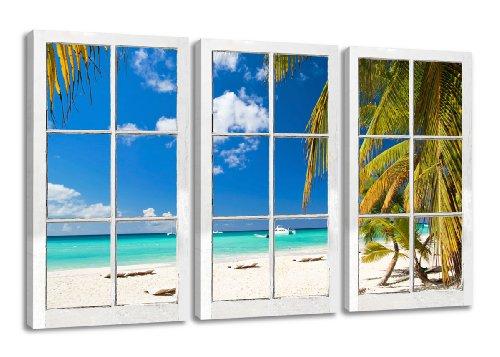 Quadro su tela finestra con vista mari del sud vacanza - Quadro finestra ...