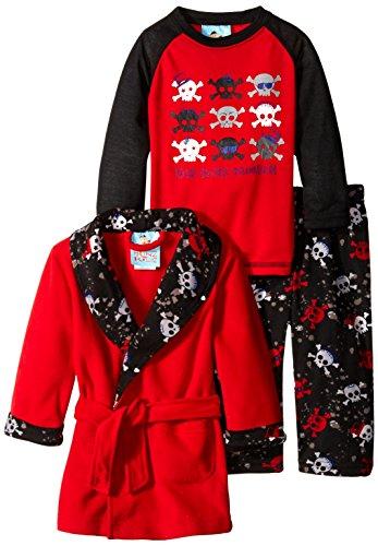 Baby Bunz Baby Boys' 3 Piece Skulls Robe and Pajama Set, Red, 18 Months