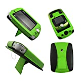 Green Leather Wallet Case for LeapFrog LeapPad 2 II Explorer - Flip Tablet Pouch Cover with Stand + 2 Membrane Screen Protectors