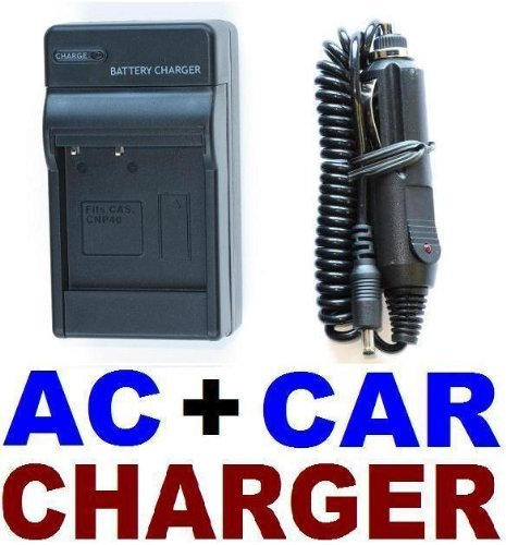 AC+Car Battery Charger Set for Casio NP-40 EX-Z1000 Z1050 Z750 Z40