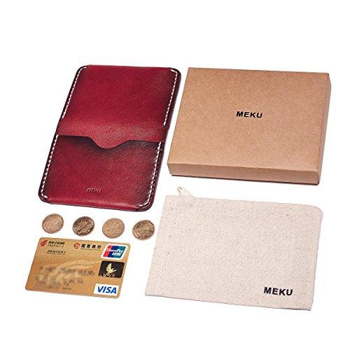 10. MEKU Men's Handmade Slim Leather Wallet Credit Card Holder Slim Wallet