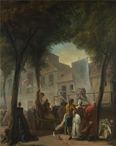 Perfect Effect Canvas ,the Cheap But High Quality Art Decorative Art Decorative Prints On Canvas Of Oil Painting 'Gabriel-Jacques De Saint-Aubin - A Street Show In Paris,1760', 10x13 Inch / 25x32 Cm Is Best For Kitchen Artwork And Home Artwork And Gifts