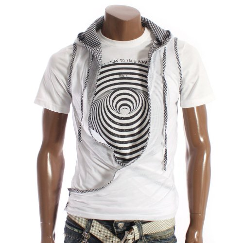 Mens Check Patch Vest Hoodie WHITE (SV1)
