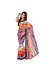 Admyrin Red And Multi Colour Printed Saree With Red Blouse Piece