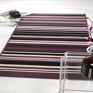 Flair Rugs Element Canterbury Striped Runner, Purple/Black, 60 x 220 Cm from Flair Rugs