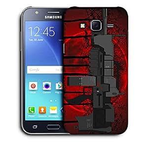 Snoogg Mini Machine Gun Black Tree Red Designer Protective Back Case Cover For SAMSUNG GALAXY J5