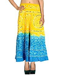Fashionable Casual Skirt Cotton Yellow Ethnic Tie Dye For Women By Rajrang