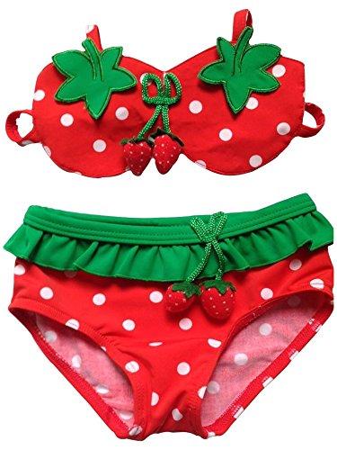 Bikini Swimsuit Kiddom Baby Girls Strawberry Swimwear 3pcs Swimming Suit Set Toddler Bathing