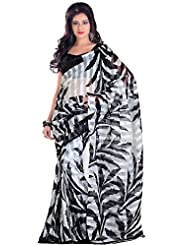 Samskruti White Black Fancy Printed Cotton Saree For Women (1038)