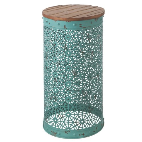 """26.75"""" Cape Cod Inspired Distressed Turquoise Punch Pattern Round Side Table front-918809"""