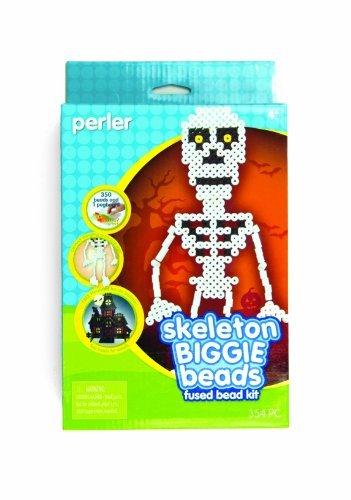 Halloween Inspired Perler Skeleton Biggie Bead Fused Bead Kit - Perler Fused Beads Kit, Skeleton Biggie Bead