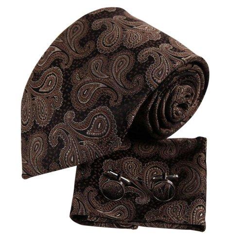 H5107 Brown Paisley Accessories Presents For Formal Wear Silk Ties Cufflinks Hanky Set 3PT By Y&G