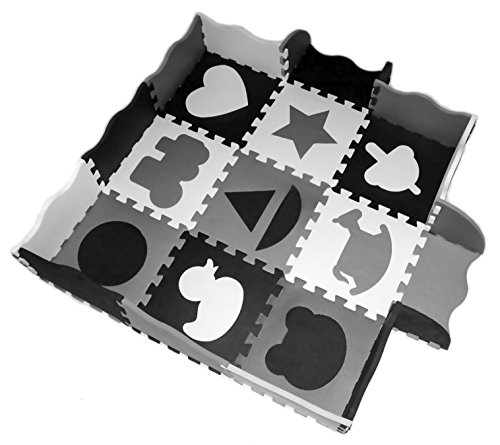 Wee Giggles Non-Toxic, Extra Thick Foam Play Mat for Tummy Time and Crawling (Black/White)