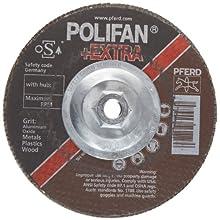 PFERD Polifan SGP Extra Abrasive Flap Disc, Type 27, Threaded Hole, Phenolic Resin Backing, Aluminum Oxide