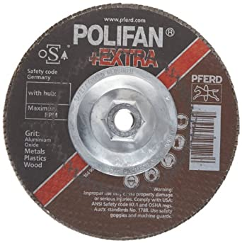 PFERD Polifan SGP Extra Abrasive Flap Disc, Type 27, Threaded Hole, Phenolic Resin Backing, Aluminum Oxide