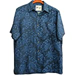 Mens Silk Linen Blend Hawaiian Camp Shirt Navy Blue Floral Casual